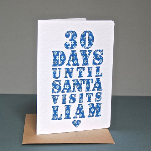 Personalised Christmas Countdown Card from Ruby Wren Designs: