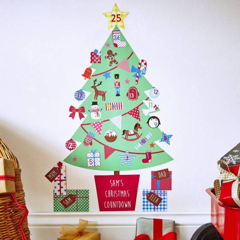 Personalised Advent Calendar Tree Wall Stickers from Kidscapes Wall Stickers: